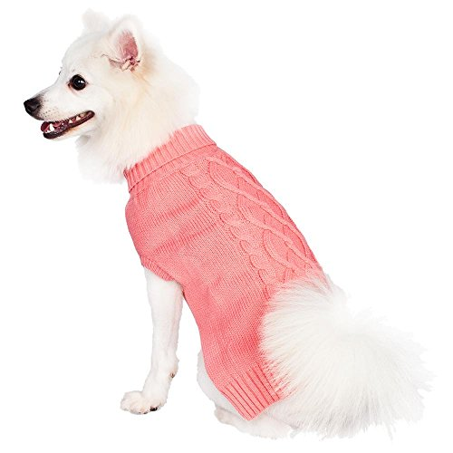 Blueberry Pet 12-Inch Back Length Sweaters for Dogs the Classy Cable Knit Rosy Pink Dog Sweater