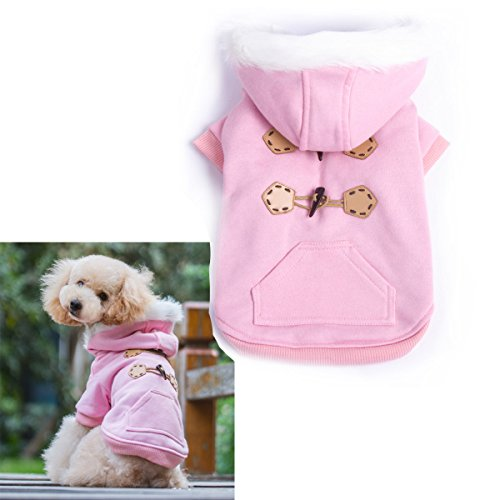Pink Warm Winter Fashion Pet Dog clothes with hoodies luxury quality size M