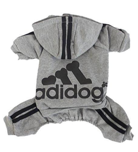 Scheppend Adidog Pet Clothes for Dog Cat Puppy Hoodies Coat Winter Sweatshirt Warm Sweater,Grey Medium