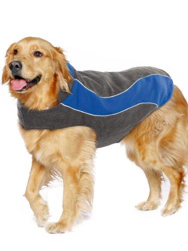 Kakadu Pet Explorer Double Fleece Dog Coat with Reflective Stripe, 26″, Sea (Blue)