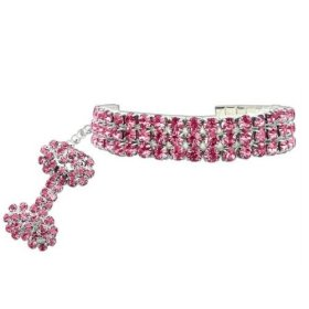 PETFAVORITES™ Couture Designer Fancy 3 Rows Rhinestones Pet Cat Dog Necklace Collar Jewelry with Bling Crystal Bone Charm Pendant for Pets Cats Small Dogs Female Puppy Chihuahua Yorkie Girl Costume Outfits, Adjustable and Handmade (Pink, Neck Size: 6″- 8″)