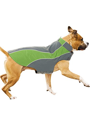 Kakadu Pet Nylon Shell And Fleece Lined Dog Coat With Reflective Stripe, Medium 22″, Grass (Green)