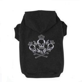 Black M Crown Crossbone Skull Printed Puppy Dog Cat Fleece Cotton Polyester Sweatshirt Hoodie
