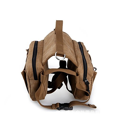 Pettom Dog Saddlebags -Cotton Canvas Dog Backpack for Travel Camping Hiking for Medium & Large Dog