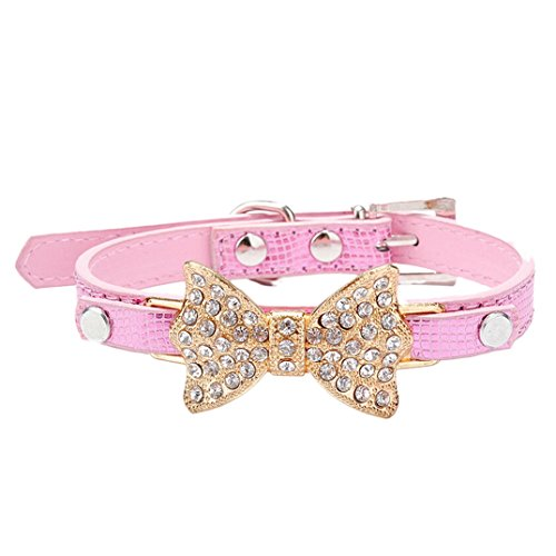 Binmer(TM)Dog Collar Bling Crystal Bowknot Cat Pet Collar Puppy Choker Dog Necklace (Pink, S)