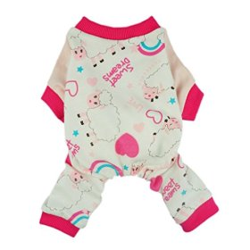Fitwarm Soft Cotton Sweet Dream Sheep Pet Clothes Dog Pajamas Clothes Shirts, Pink, Small