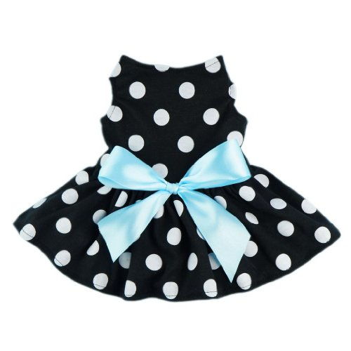 Fitwarm® Cute Polka Dot Ribbon Dog Dress Dog Clothes Cozy Dog Shirt Pet Dress, Medium