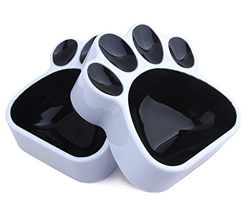 GetTen® Special Pet Paw Style Dog Bowl is Perfect for a Dog Cat Kitten Puppy black (A set of two)
