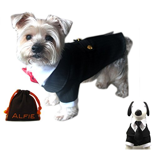Alfie Pet by Petoga Couture – Oscar Formal Tuxedo with Black Tie and Red Bow Tie – Size: Medium