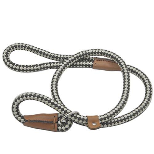 Pet Cuisine Dog Leash Training Slip Lead Puppy Nylon Rope Adjustable Loop Collar Black & White