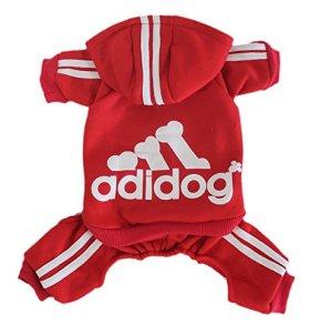 Scheppend Adidog Pet Clothes for Dog Cat Puppy Hoodies Coat Winter Sweatshirt Warm Sweater,Red Small