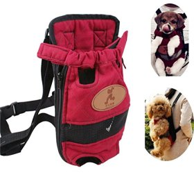 T Tocas Front Pack Pet Small Dogs Puppy Carry Canvas Bags Backpacks, Double Shoulders Straps, fit weight from 5.5lbs to 7.7lbs (Medium)
