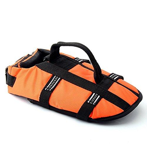 JZHY Dog Life Jacket Safety Clothes Swimming life jackets Swimwear with Adjustable Belt for Dog Pet Size L Color Orange