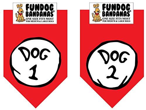 2 Pack DOG BANDANA – Dog 1 & Dog 2 for Medium to Large Dogs – red