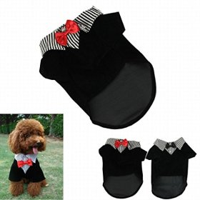 IUNEED Cute Small Pet Dog Clothes Western Style Gentelpet Suit Bow Tie Puppy Costume (Red, S)