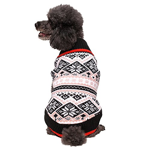 Blueberry Pet 12-Inch Back Length Clothes for Dogs Snowflakes Fair Isle Dog Sweater