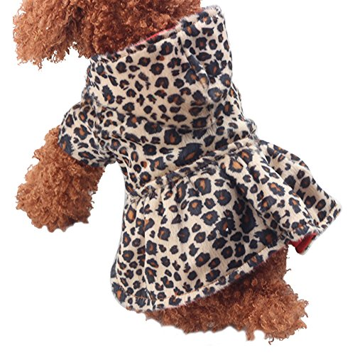 CHN'S Dogs Cats Pet Clothes Warm Hoodie Coat Jacket Puppy Tutu Dress Shirt (XS, Leopard or Red)