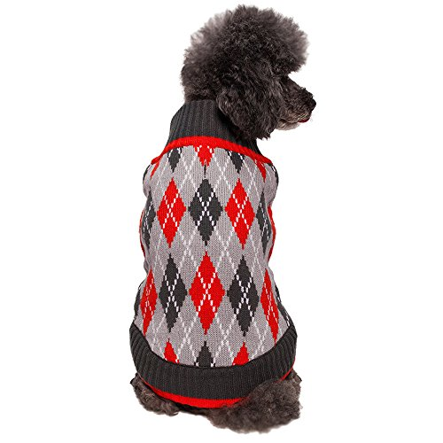 Blueberry Pet 16-Inch Back Length Chic Argyle All Over Dog Sweater in Charcoal and Scarlet Red