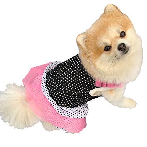 Mosunx(TM) Fashion Puppy Dog Princess Dress Dog Dot Skirt Pet Dog Dress (M, A)