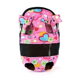 Froomer Pet Dog Cat Carry Tote Bag Puppy Travel Canvas Backpack Portable Bag Pink Love Medium