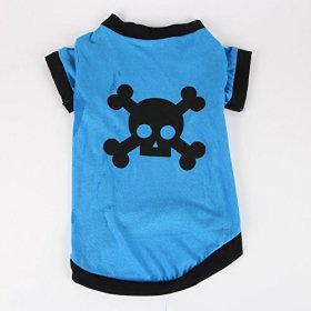 Commoditier(TM) Pet Dog Cat Cute Pirate Symbol Puppy T-Shirt Small Dog Apparel Dress Size Small – Blue Color — DESIGNED FOR SMALL BREED DOGS