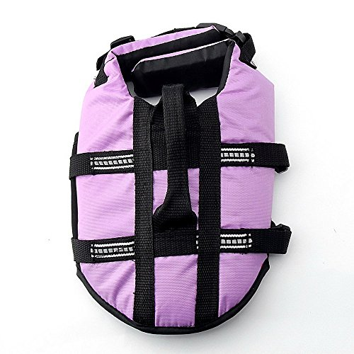 JZHY Dog Life Jacket Safety Clothes Swimming life jackets Swimwear with Adjustable Belt for Dog Pet Size S Color Violet