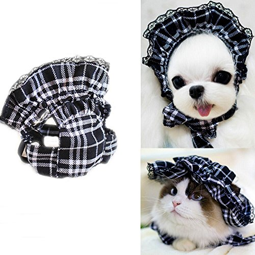 Bro'Bear Pet Plaid Hat with Lace for Small Dogs & Cats Party Maid Costume Headwear (Black, Large)