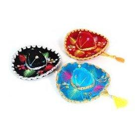 Mini Charro 12 Pack Velvet Assorted Color Sombreros 5″ Mariachi Pack Pet Hat Decor