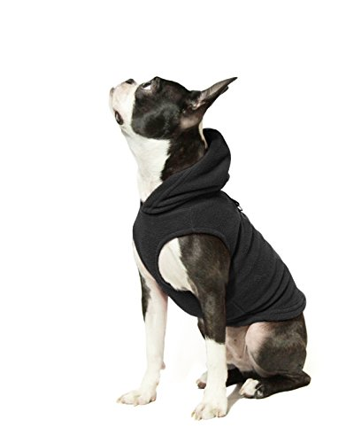 Gooby Every Day Fleece Cold Weather Dog Vest with Hoodie for Small Dogs, Black, Medium
