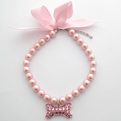 PETFAVORITES™ Couture Designer Fancy Pearls Crystal Pet Cat Dog Necklace Jewelry with Bling Rhinestones Big Bone Charm for Pets Cats Small Dogs Female Puppy Chihuahua Yorkies Girl Costume Outfits, Adjustable and Handmade (Pink, Neck Size: 10″-12″)