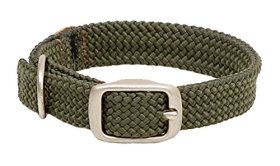 Mendota Products Double Braid Dog Collar, Olive, 1 x 18-Inch