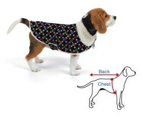 Paw Print Corduroy And Fleece Pet Coat Medium