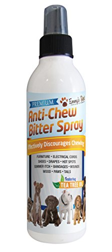 8 OZ #1 Premium Pet Chew & Scratch Deterrent – More Effective than Grannicks Bitter Apple – Discourages Destructive Chewing & Scratching – Patented Bitter Agent – All Natural Ingredients – Safe for Pets and the Environment – Effective training tool for Puppies, Dogs, Kittens and Cats – Keeps pets away – Featuring Tea Tree Oil (Melaleuca) to Promote Healing, Reduce Irritation of Hot Spots – Safe on Furniture, Plants, Floors, Electrical Cords, Shoes – 100% Satisfaction Guaranteed!