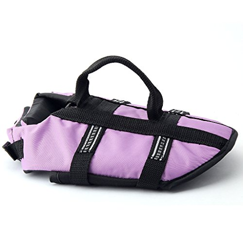 Funkeen Dog Life Jacket Aquatic Pet Safety Preserver Vest with Reflective Tape (Small, Purple)