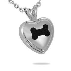 HooAMI Pet Cremation Urn Necklace Puppy Dog Bone Heart Pendant Keepsake Memorial Jewelry