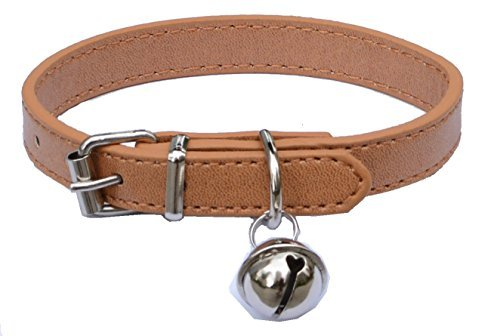 Beige Leather Pet collars for Cats,Baby Puppy Dog,Adjustable 8″-10.5″ Kitten Collar with Bell