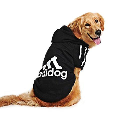 Eastlion adidog Large Dog Warm Hoodies Coat Clothes Sweater Pet Puppy T Shirt Black 3XL