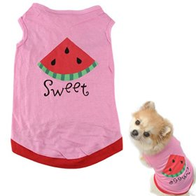 HP95(TM) New Summer Cute Small Pet Dog Puppy Cat Clothes Watermelon Printed Pink Vest (S)