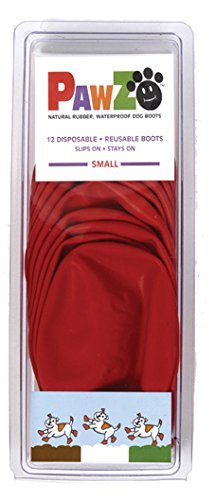 Dog Boots Disposable, Reusable, Waterproof Pawz Set of 12 Color:Red Size:Small