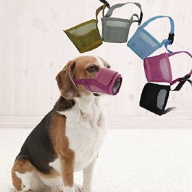Adjustable Pet Dog Puppy Breathable Mesh Muzzle Control Biting Barking Nipping