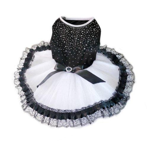 WXBUY Glitter Bow Lace Dog Tutu Dress Bubble Skirt Pet Clothes Puppy Costume L