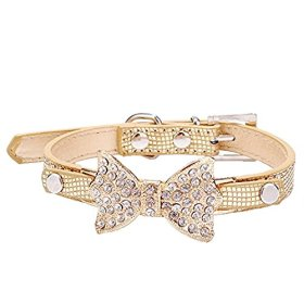 Cute PetBling Rhinestone Pet Cat Dog Bow Tie Collar Necklace Jewelry for Small or Medium Dogs Cats Pets Female Puppies Chihuahua Yorkie Girl Costume Outfits, Light and Adjustble Buckle Golden XS