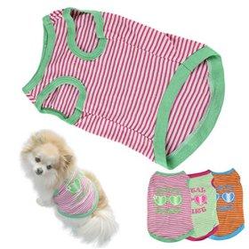 HP95(TM) Hot! Stripe Pet Puppy Summer Shirt Small Dog Cat Pet Clothes Vest T Shirt (S, A)