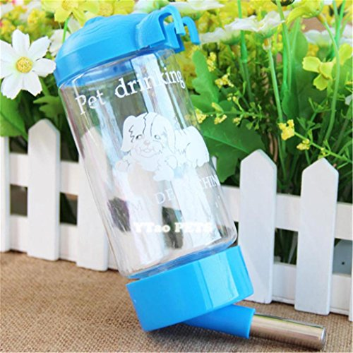 Automatic Travel Home Cat Dog Puppy Water Drinking Bottle Feeder Light Blue