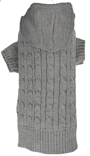 Grey Dog Classic Cable Pet Sweater Hoodie for Dogs, Medium (M) Size