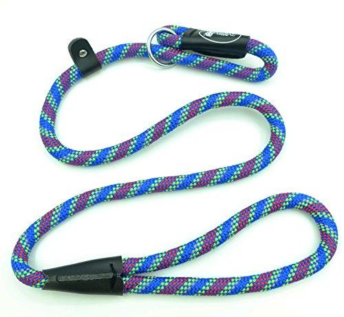 Pet Cuisine Dog Leash Training Slip Lead Puppy Nylon Rope Adjustable Loop Collar Multi-colored Blue