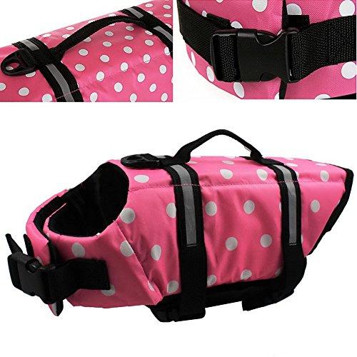 OurWarm Wave Pet Dog Life Jacket Doggy Life Vest CoatPet Dog Saver Life Vest Coat Flotation Float Life Jacket Pink Small Size