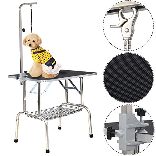 """Goplus® 35""""x30"""" Large Portable Pet Dog Cat Grooming Table Dog Show W/ Mesh Tray"""