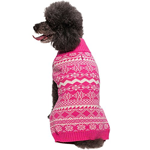 Blueberry Pet 12-Inch Back Length Vintage Tinsel Knit Fair Isle Dog Sweater in Hollywood Cerise, Clothes for Dogs