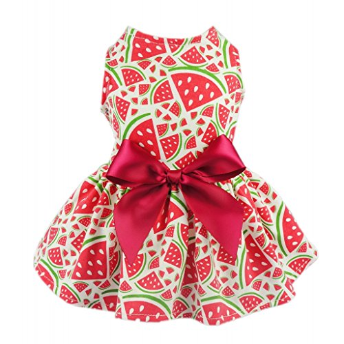 Fitwarm Sweetie Watermelon Pet Clothes for Dog Dress Sundress Shirts – Red – Medium
